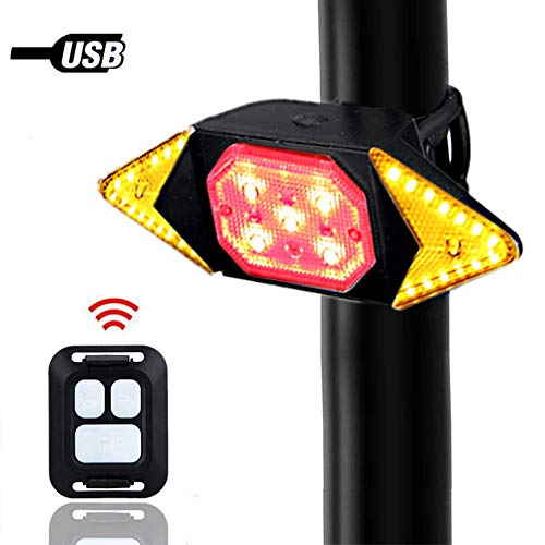 Bike Tail Light with Turn Signals 5 Modes USB Rechargeable Rear Light Wireless Remote Control Red Solid Yellow Flashing Mode place on Helmet Mountain Road Urban Commuting Bike Scooter Wheelchair