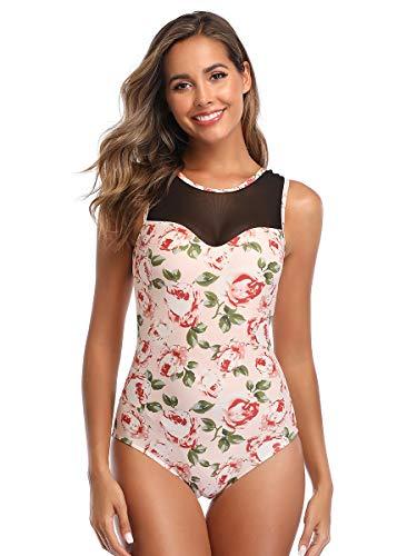 Summer Mae Damen Bademode Masche Schlankheits Badeanzug High Neck Bauchweg Einteilig Strandmode Rosa Blumen XL