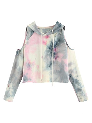 SweatyRocks Women's Cold Shoulder Tie Dye Pullover Hoodie Crop Top Sweatshirt Tie Dye Grey Medium
