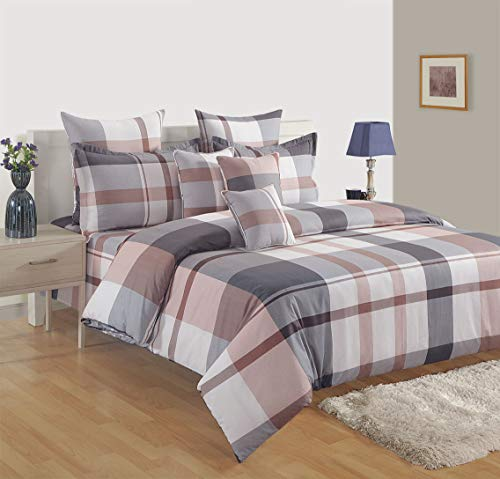 Swayam 180 TC Stripes Print Cotton Single Bed Sheet with 1 Pillow Cover - Grey, White