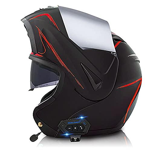 YLXD Casco De Moto Modular Integrado, con Doble Visera Cascos De Bluetooth Motocicleta, Casco Moda Integral ECE Homologado, Transpirable Y Cómoda, para Mujeres y Hombres H,S