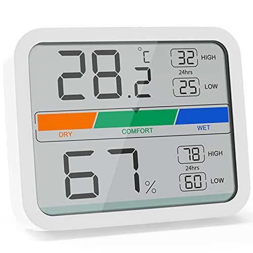 LIORQUE Termómetro Higrometro Digital para Interior Medidor de Temperatura y Humedad con Registro Máximo y Mínimo para Hogar y Oficina (Batería Incluida)