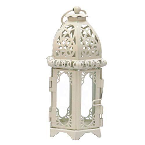 Lámpara de té de cristal marroquí para interiores y exteriores, para colgar en la mesa, con portavelas (cristal blanco transparente)