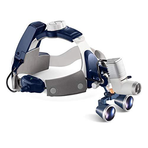 Hmyloz 5W LED Dental Chirurgisch Lupe Stirnlampe Alles in Einem Mit 2,5X 3,5X 420Mm Fernglas Galileo Rahmen Lupe Vollständig Wasserdicht Staubdicht,2.5X