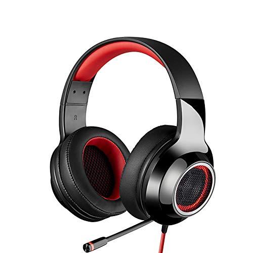 FGFGN Casque d'écoute PS4, Casque de Jeu, Casque de Jeu 7.1 canaux monté sur la tête, Esports, Éclairage LED, Compatible avec PC, Ordinateur Portable-Red