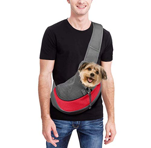 Achort - Transportador de mascotas manos libres, bandolera con bolsa de transporte para perros pequeños y gatos, bolsa de malla transpirable para viajes, exteriores, paseos, metro, máx 5,4 kg (rojo)