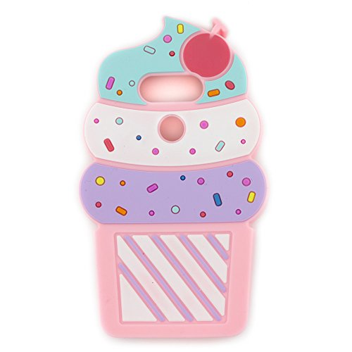 LG G5 Case, 3D Cartoon Cute Cherry Cupcakes Ice Cream Shaped Soft Silicone Case Cover for LG G5 VS987/H820/LS992/H830/US992 (5.3' Inch) (Pink)
