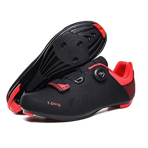RHSMW Zapatillas de Bicicleta, Zapatillas de Ciclismo para Hombre Zapatillas de Bicicleta de Carretera Zapatillas de Bicicleta ultraligeras autoblocantes Transpirables y Profesionales,Negro,41