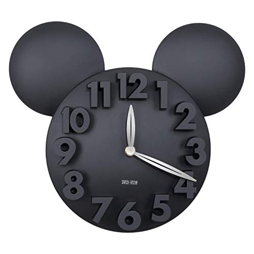 YXB Digital Quartz Wall Clock,Mickey Minne Mouse Cartoon Wall Clock, Large 3D Numbers, Battery Operated Modern Home Decorations for Kids Bedroom Living Room Office Kitchen