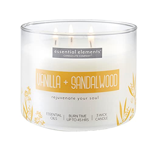 Essential Elements by Candle-Lite Company Scented Vanilla & Sandalwood Single-Wick Jar Candle, 14.75 oz, Off White