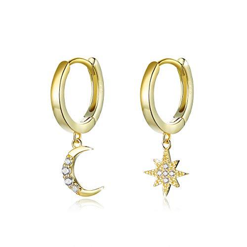 Orecchini a cerchio per ragazze in argento Sterling 925 placcato oro con luna e stella, gioielli regalo per San Valentino