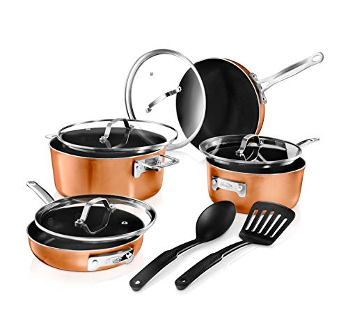 GOTHAM STEEL 10 Piece Cookware Set, Copper/Black