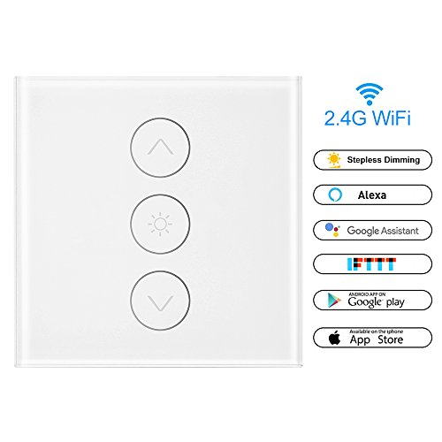 Powstro WiFi Dimmer Switch, Wireless Dimmer Switch Module Relay Smart Light Dimmer Switch with Timing compatible with Alexa/Google Home (APP: Smart Life)