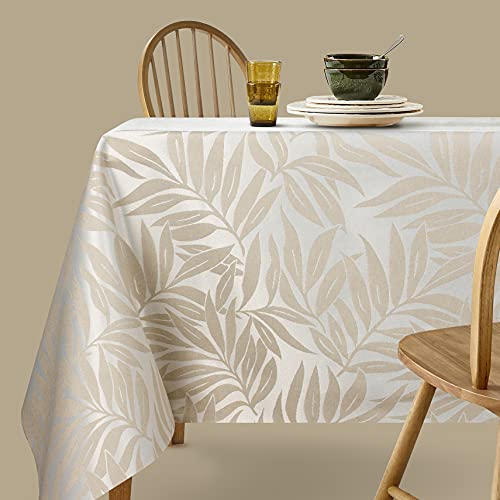 Viste tu hogar Mantel Jacquard Resinado, 140x140 CM, Impermeable y Resistente, para Decoración de Mesa, Ideal en Fechas Especiales, Patrón de Plantas, Beige