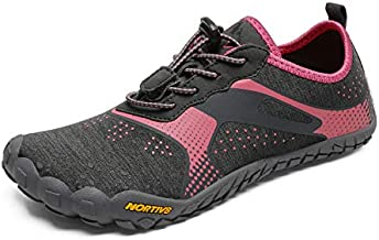 NORTIV 8 Women's Quick Dry Water Shoes Barefoot Aqua Swim Shoes for Beach Sports Fishing Hiking Boating Surfing Grey Watermelon Red Size 8 M US Treklady-1