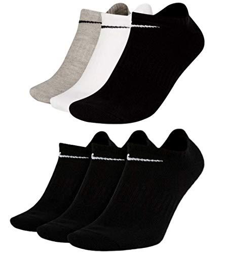 Nike SX7678 - Calcetines tobilleros (6 pares), color blanco, gris y negro