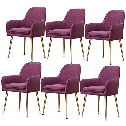 6× Velvet Modern Dining Chairs Living Room Arm Chair Upholstered Chair with Gold Metal Legs for Club Leisure Guest Lounge Bedroom (Color : Purple)