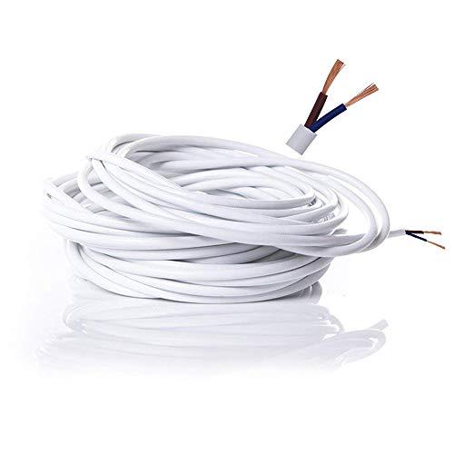 Cable eléctrico de 2 núcleos de PVC Cable Eléctrico de Alambre de Cobre de Alta Resistencia a la Temperatura 2 x 0,75 mm² Cable de Alimentación Doble 10 Metros Longitud de Corte flexible - Blanco