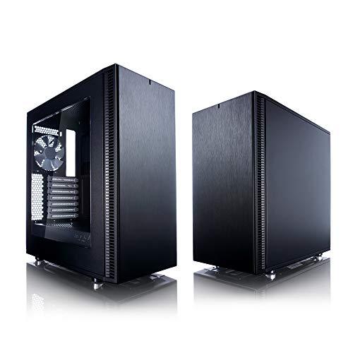 Fractal Design Define C TG - Compact Mid Tower Custodia computer - Ottimizzato per flusso d'aria elevato e elaborazione silenziosa - Interno modulare - Flusso d'aria - Layout aperto - Nero