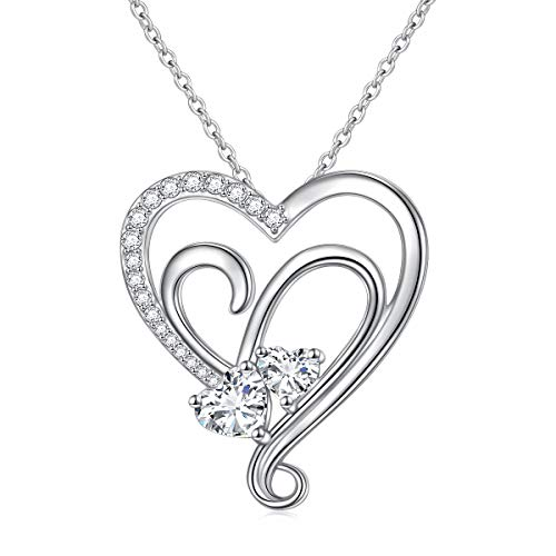 (40% OFF Deal) Sterling Silver Cubic Zirconia Heart Pendant Necklace $12.90