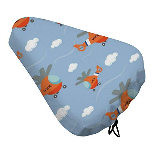 BEOTARU Exercise Bike Seat Cover Waterproof Dust Resistant Coast Guard Helicopter Cycling Saddle Cushion