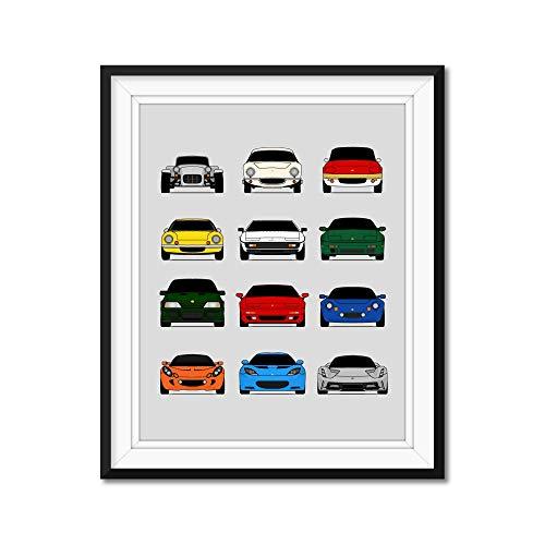 Lotus Generations Inspired Poster Print Wall Art Handmade Decor of the History and Evolution of Lotus Cars (Elise, Esprit, Exige, Evora, Evija, Elan, Europa)