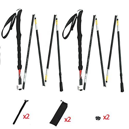 LITTER Wanderstock - Walking Stöcke Verstellbare Leichtgewichtige Wanderstöcke Aluminium Korkgriff, Trekking Stöcke Damen Und Herren,Red