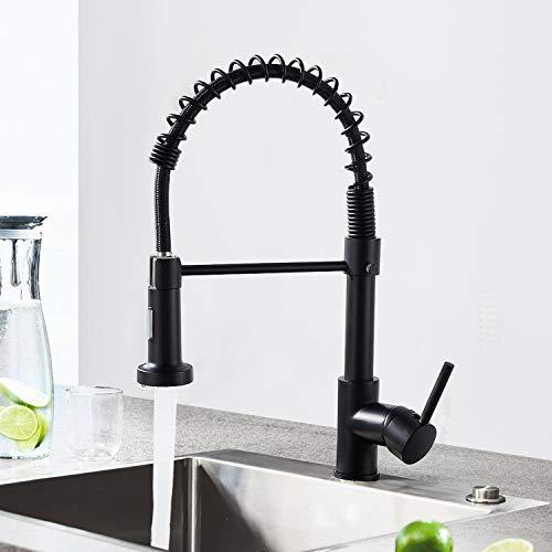 JTWEB Wasserhahn Küche 360°Drehbar Küchenarmatur mit Brause Mischbatterie Küche Armatur Küche Spiralfederarmatur Einhebelmischer Spültisch Armatur