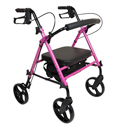ProBasics Aluminum Rolling Walker for Seniors - Adjustable Seat & Height with 8 Inch Wheels, Pink
