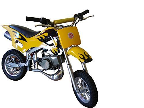 Mini Moto Cross Trilha 49cc BZ Fire Amarela Partida a Corda Gasolina com Óleo 2 Tempos BARZI MOTORS