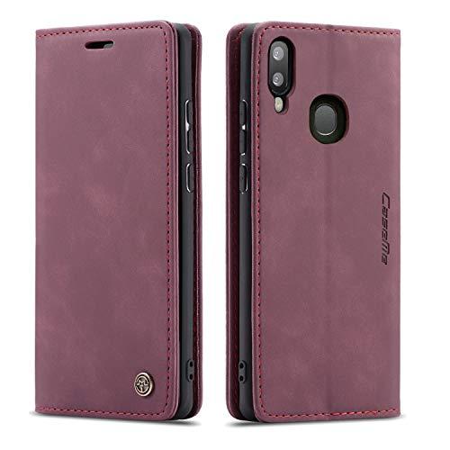 QLTYPRI Samsung Galaxy A40 Hülle, Vintage Dünne Handyhülle mit Kartenfach Geld Slot Ständer PU Ledertasche TPU Bumper Wallet Case Flip Schutzhülle für Samsung Galaxy A40 - Rot