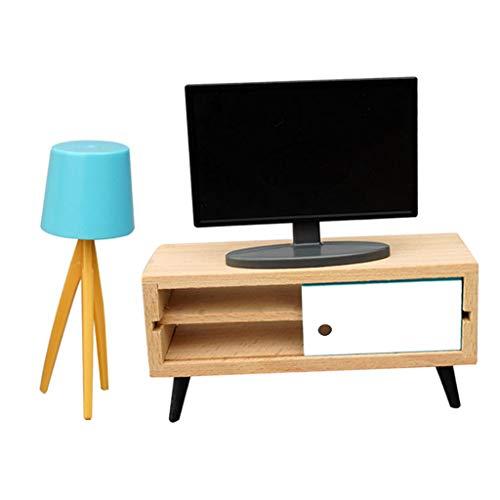 Sharplace Casa de Muñecas de Madera Juego de Gabinete de TV de Fidelidad Accesorios de Muebles 1/6 1/12 Decoración de Muebles Modelo Escena de Vida Juguete