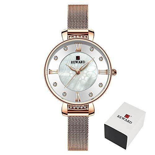JCCOZ-URG Moda de Lujo del Reloj for Mujer del Rhinestone de Malla de Acero Correa de Reloj de Pulsera de Las Mujeres del Reloj Impermeable de los Relojes Casuales URG (Color : White Box)