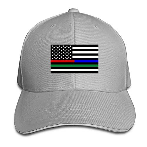 XCNGG Banderas de Rayas múltiples Sombreros de papá Ajustables Sombrero de Camionero Gorra de Visera para Exteriores Sandwich