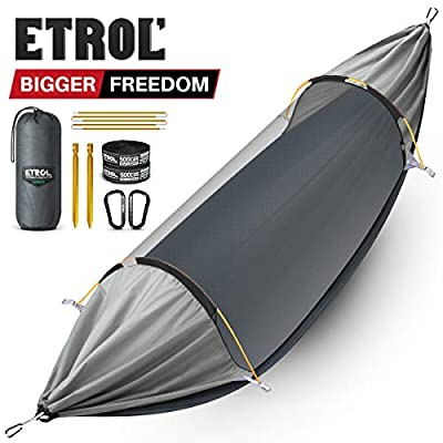 ETROL Hammock, Upgrade Double & Single Camping Hammock with Mosquito Net, Tree Straps, Carabiners, Aluminium Poles, 3 in 1 Function Portable Hammock for Outdoor Hiking Patio Travel—Dark Gray