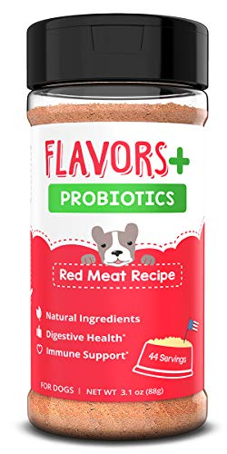 BEAUMONT BASICS Flavors + Premium Probiotics - Food Topper for Dogs - Digestive Aid, Upset Stomach, and Diarrhea Relief - Support a Healthy Gut (Red Meat, 44 Servings)