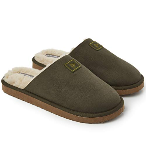 Dunlop Zapatillas Casa Hombre, Memory Foam Pantuflas Peluche Abiertas, Zapatillas De Estar En Casa Invierno Calientes Suela de Goma Dura Interior Exterior, Regalos para Hombre (45 EU, Caqui)