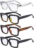 Eyekepper 4 Pack Ladies Reading Glasses - Stylish Oversized Square Readers for Women