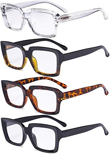Eyekepper 4 Pack Ladies Eyeglasses - Stylish Oversized Square Eyewears for Women
