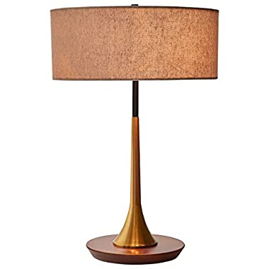 Rivet Mid-Century Curved Brass Table Lamp, 21.7  H, Brass and Walnut