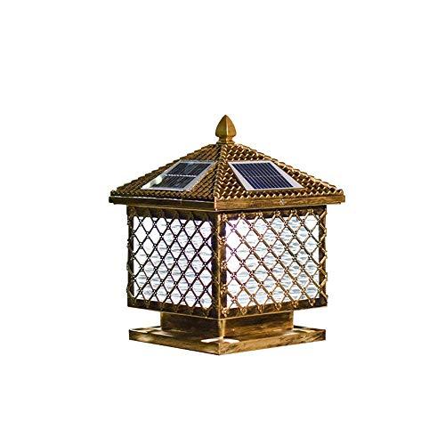 QULONG Poste de Columna rústico Antiguo Luz de Bronce Cuadrado Lámparas de Pilar Solar Luz de baliza de estigma LED Luces de antorcha de Piscina Vidrio de Aluminio al Aire Libre Lámparas de Me