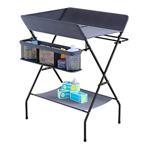 gris Table à langer pour bébé se pliant, Station de bain nouveau-né pour petit espace, Portable Dresser Toddler 0-3 ans pour la maison et les voyages, Multi-fonction