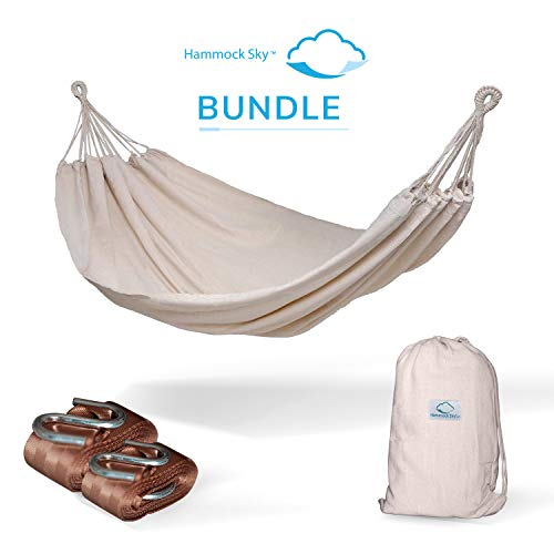 Hammock Sky Brazilian Double Hammock (Natural) with Tree Straps (Brown) - Two Person Hammock with Best Extra Long Hanging Straps