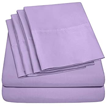 Sweet Home Collection Sheets 6 Piece 1500 Thread Count Deep Pocket Hypoallergenic Brushed Microfiber Soft and Comfortable Bedding Set Queen Lavender