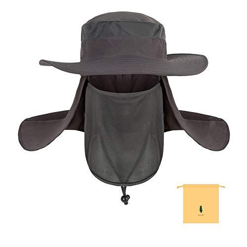 Longsing Sombreros de Pesca Gorro de Pesca Gorra de Pesca Plegable Sombrero para el Sol de Secado rapido Boonie Hat, Negro o Gris