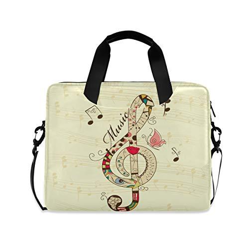 OOWOW - Bolsa para portátil para mujer y hombre, diseño vintage con nota musical, clave de agudo, ligero, maletín de 14 15,6 16 pulgadas, funda para ordenador portátil