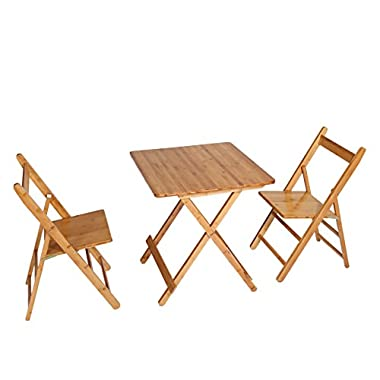 UNICOO - Bamboo Square Folding Table With Two Folding Chairs, Outdoor and Indoor Folding Bistro Set 3 Piece Patio Table and Chairs Set (T60-S)