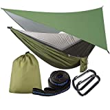 OTraki Camping Hammock with Mosquito Net and Tarp Rain Cover and Tree Straps