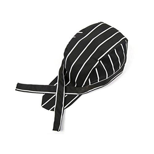 Vosarea Fashion chapéu de chefs listrado cozinha catering crânio boné fita turbante elástico ajustável para homens adultos e mulheres cozinhando servidor (preto + branco)