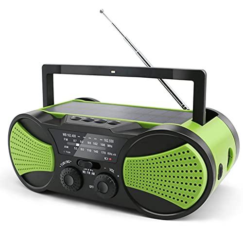 Radio Meteorológica NOAA Para Alertas Meteorológicas Radio Solar De Manivela Radio De Manivela AM / FM / WB Estaciones De Radio Linterna LED De Emergencia Señal SOS 4000 MAh Cargador De Teléfono Celul
